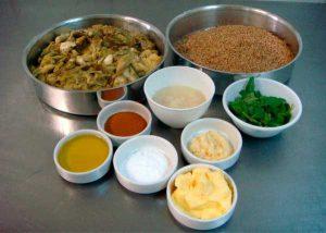 Ingredientes da receita do Quibe Vegetariano