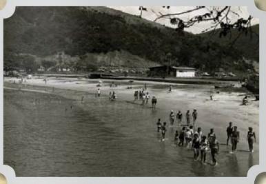 Prainha - Praias de Caraguatatuba - Prainha década de 1970 - Foto: Revista da cidade